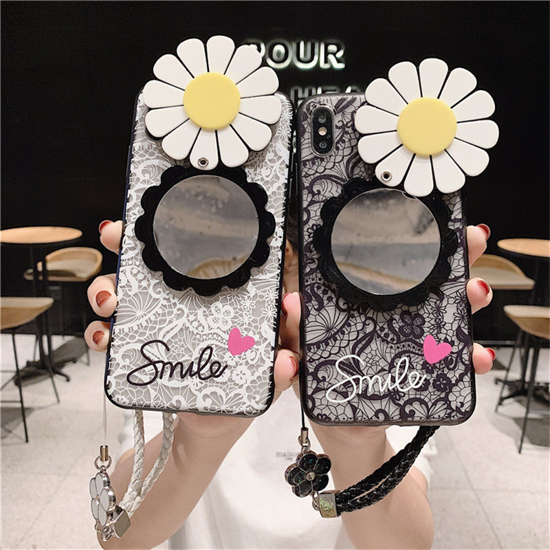Cute Cartoon Make Up Mirror Retro Lace Flower Case Cover For Samsung Galaxy Note 20 10 9 8 S21 S20 FE Ultra S10E S9 S8 Plus