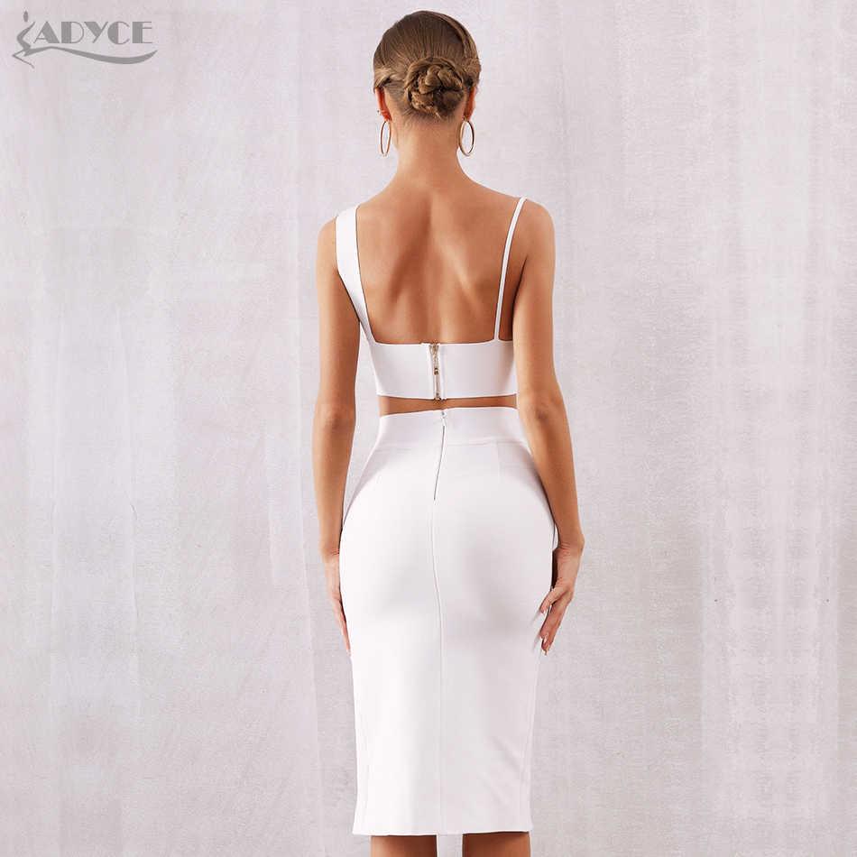 ADYCE, новинка, летний женский белый облегающий бандажный комплект, Vestido, комплект из 2 предметов, сексуальный топ на бретельках, вечернее платье в стиле знаменитостей