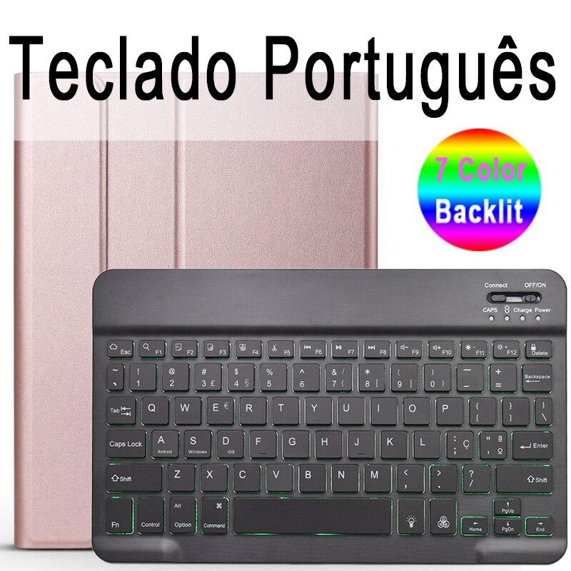 Portuguese Keyboard Navy 7 Colors Backlit 3 0 Bluetooth Keyboard Case for iPad 10 2 Keyboard Case for Apple