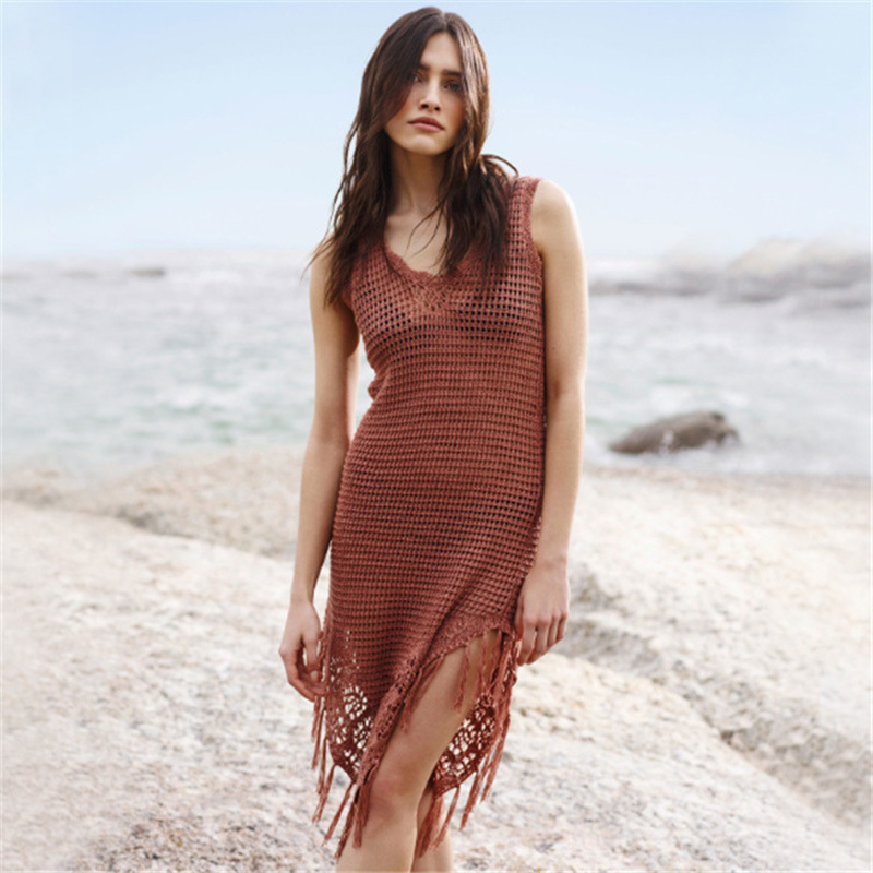 Europe And America Hollow Out Knitted Brown Tassels Beach Skirt Knit Tank Dress Bikini Outer Blouse Holiday Sun Shirt Women's