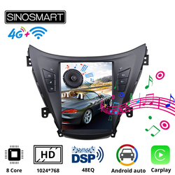 Sinosmart Tesla Style Car GPS Radio Navigation Player for Hyundai Elantra 2012 I35 Avante MD 2011-2013