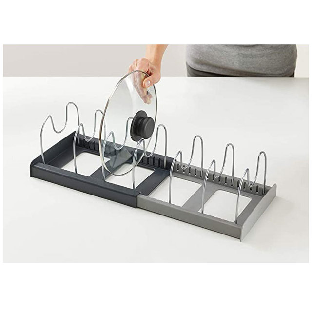 Retractable Pot Lid Rack Stainless Steel Spoon Holder Shelf Cooking Dish Drainer Drying Rack Kitchen Organizer Pan Cover Stand 6