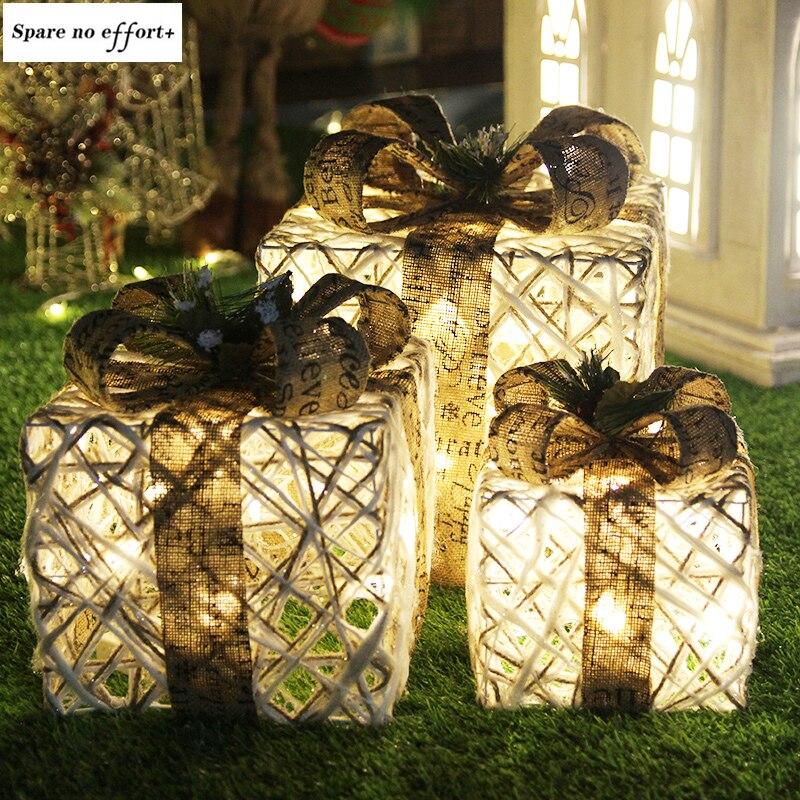 Decoração de natal caixa de presente de três peças ornamentos de árvore de natal luminosa arte de ferro casa decorações de natal ao ar livre shopping