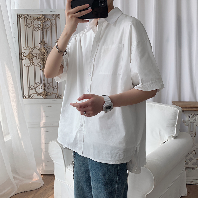 EWQ / Men's Wear Casual Oversize Black White Short Sleeve Shirt 2020 Summer New Loose All-match Single Breasted Tops 9Y2297