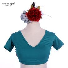 Belly Dance Top Ats Tribal Lycra Choli Short Sleeve Women's Costume AY104