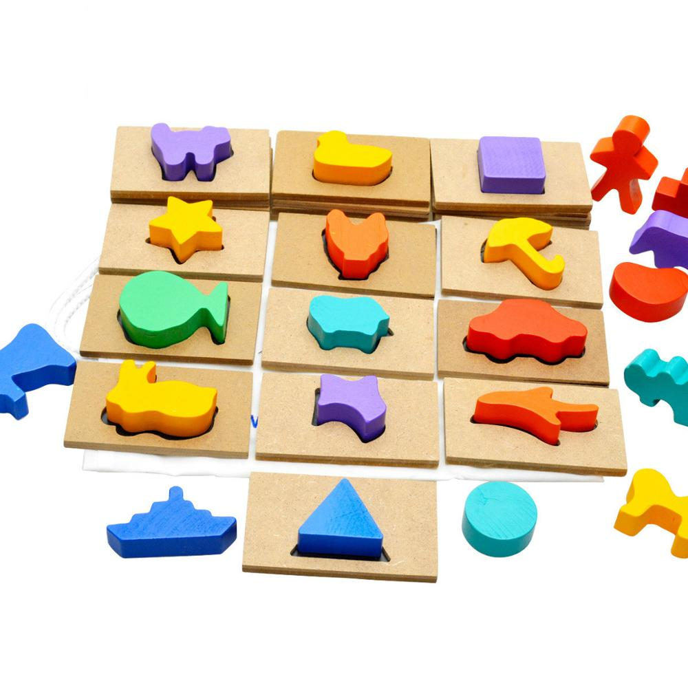 New Wooden Puzzle Toys Shape Pairing Toys Finding Shadow Game Early Educational Toy Intellectual Development Toy Kids