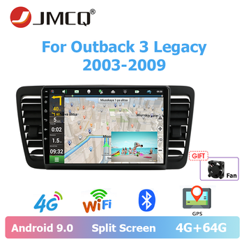JMCQ Car Android 9.0 Radio  Multimedia Video Player For Subaru Outback 3 Legacy 4 2003-2009 2 din 4+64G 8-core Split Screen DSP
