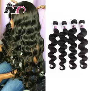 NY Hair Brazilian Body Wave 4 Bundles Hair 100% Human Hair Weave Natural Black Non-Remy Body Wave Bundles Deals for Black Women(China)