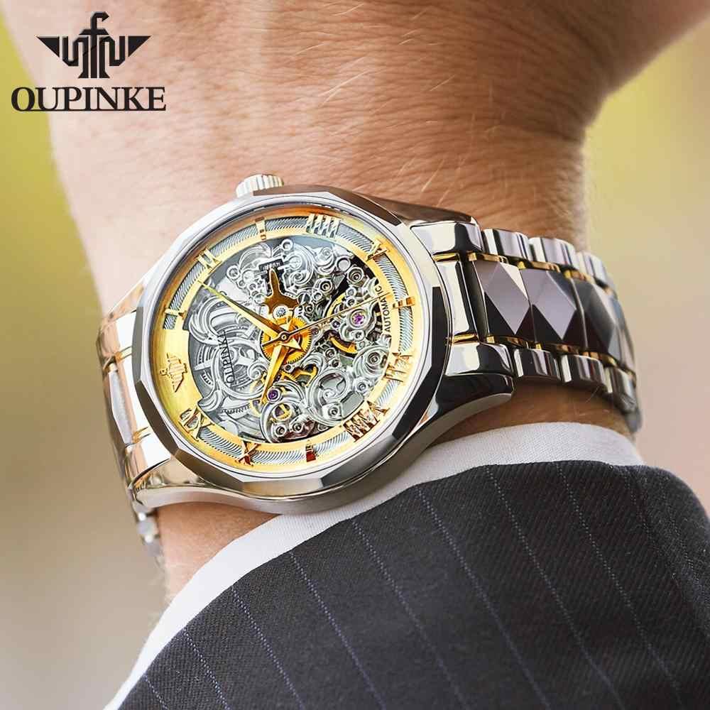 גברים מכאני שעונים OUPINKE למעלה מותג ספורט שלד זכר שעון יוקרה ספיר עסקים אוטומטי שעון יד גברים עמיד למים