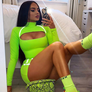 Women Winter Fashion High Street 2020 Sexy Key Hole Orange Neon Green Long Sleeve Two Piece Women Set Designer Women's Set
