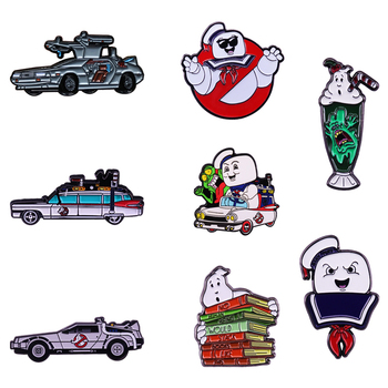 Cult Classic Film Ghostbusters Series Brooch Slimer Stay Puft Marshmallow Metal Badge ECTO 1 Car Ghost Books Enamel Pin image