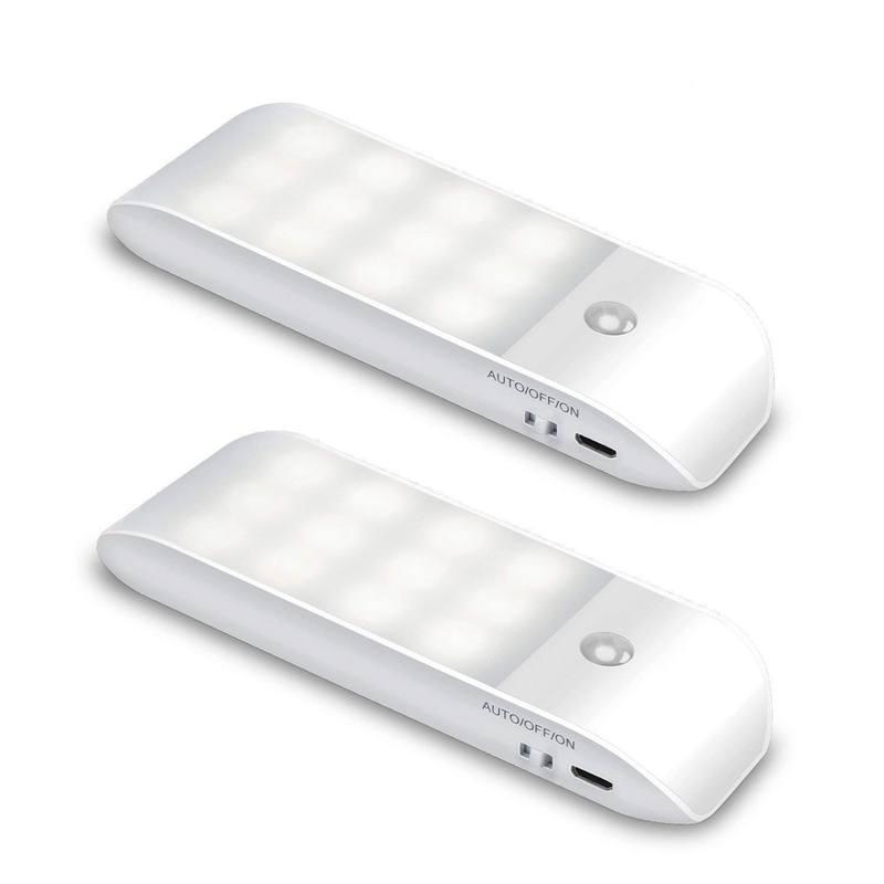 Motion Sensor Light, [2 Pack] Cupboard Night Light, USB Rechargeable Battery Powered Light With 24 LED, Removable Magnetic Strip