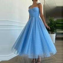 Blue A Line Prom Dresses Sweetheart Sleeveless Tulle Formal Wedding/Evening Party Dress for Graduation Vestidos De Fiesta