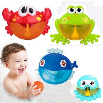 Máquina de burbujas para exterior, música de cangrejos y Rana, juguete de baño para niños, máquina de burbujas automática para jabón, juguete de baño para bebé para niños