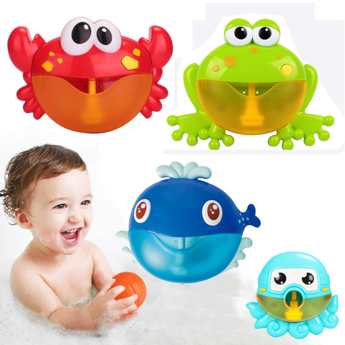 Outdoor Bubble Machine Crabs&Frog Music Kids Bath Toy Bathtub Soap Automatic Bubble Maker Baby Bathroom Toy for Children