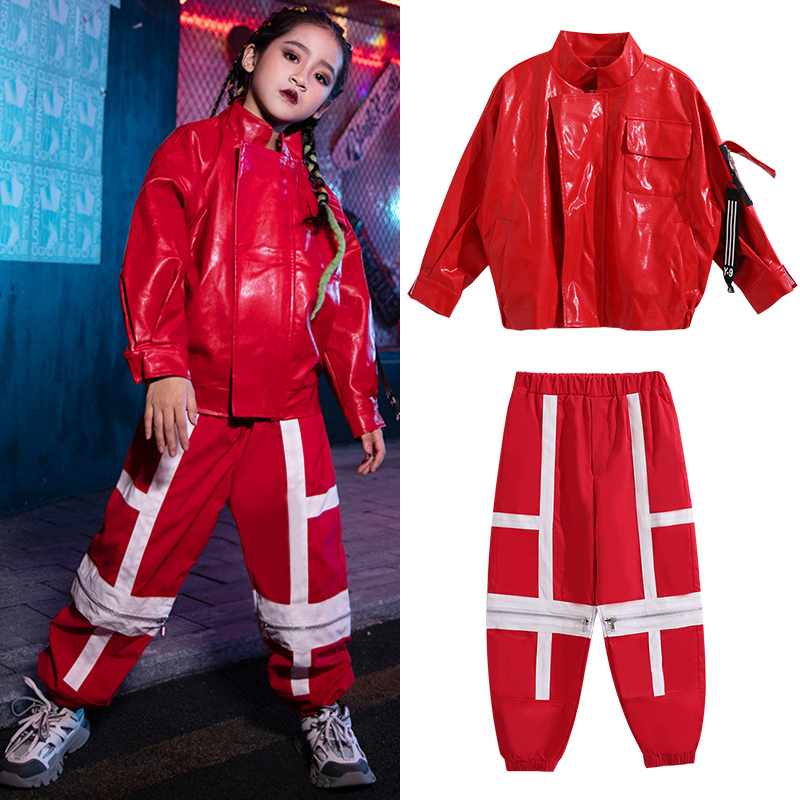 Children Red Hip Hop Dance Costume Fashion Leather Coat Girl Clothing Ropa Hip Hop Jazz Stage Clothes Performance Show Kids Suit