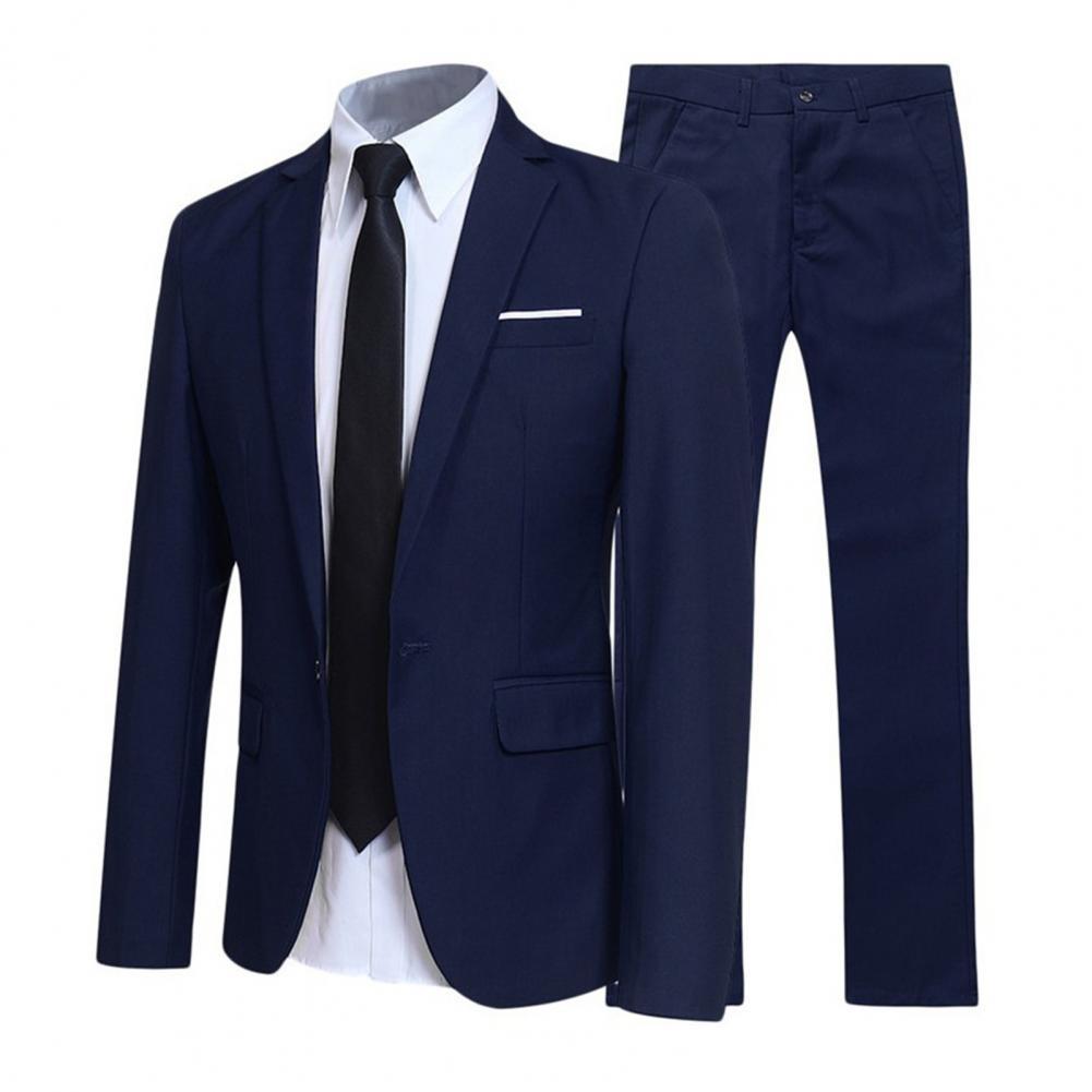 Men Suit Set Lapel Formal Stylish Buttons Pockets Blazer for Dating 2-Piece Wedding Suits Slim- Fit Groomsmen Best Suit For Men