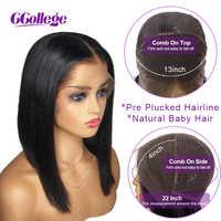 13x4 pelucas de cabello humano Frontal de encaje para mujeres negras pelo malayo recto Pre desplumado con pelo de bebé corto pelucas Bob no Remy