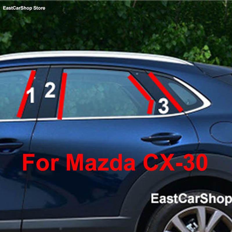 Для Mazda CX-30 CX 30 2020 2021 2019 двери автомобиля окно средней колонке отделкой защитные декоративные полосы Стикеры для ПК Аксессуары