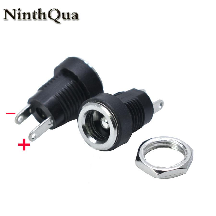 2/5/10 pces 5.5x2.1/5.5x2.5mm dc power jack soquete fonte fêmea montagem em painel conector plug adaptador 2 tipo terminal conector dc