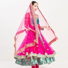 New India Sarees For Woman India Lenha Anna Dancing Performance Dress Woman Beautiful Embroideried Sets Dress+Pants+Scarf