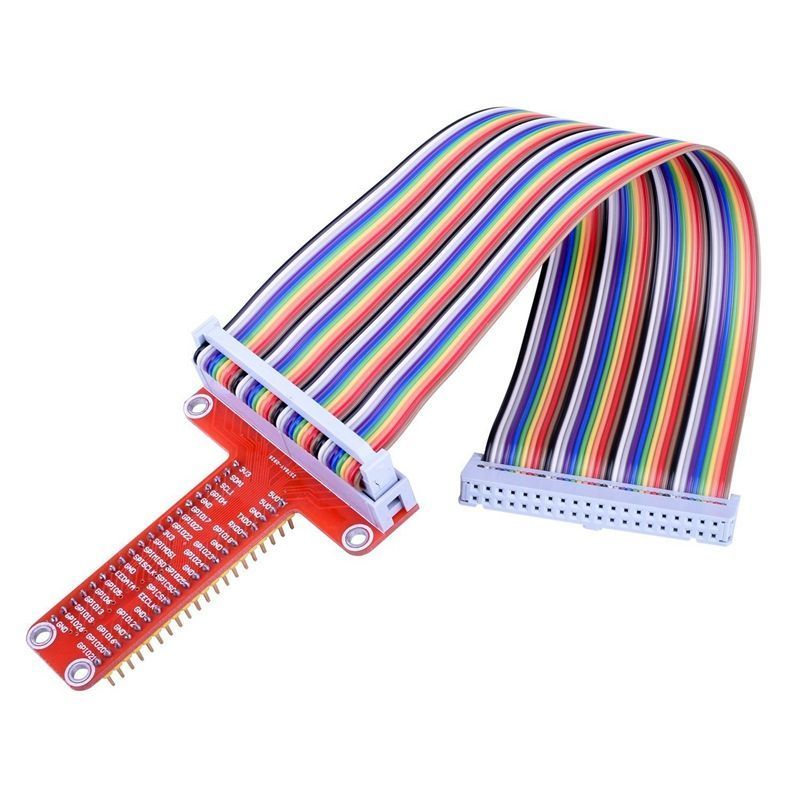 For RPi GPIO Breakout Expansion Board + 20cm FC40 40pin Flat Rainbow Ribbon Cable + Assembled T Type GPIO Ad Q2C7 For Raspberry
