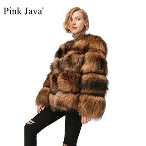 Image 1 - Pembe JAVA QC1874 yeni geliş ücretsiz kargo kadınlar kış gerçek rakun kürk ceket kabarık sıcak satış toptan kürk elbise