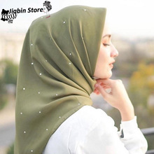 110*110cm islamic cotton headscarf women muslim Sequins hijab scarf female squar