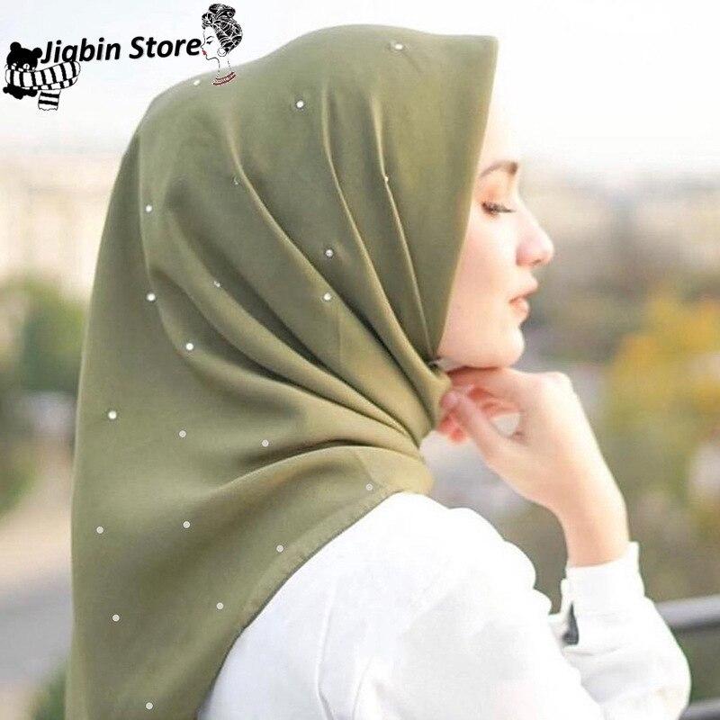 110*110cm Islamic Cotton Headscarf Women Muslim Sequins Hijab Scarf Female Square Shawls Head Wraps Foulard Femme Musulman
