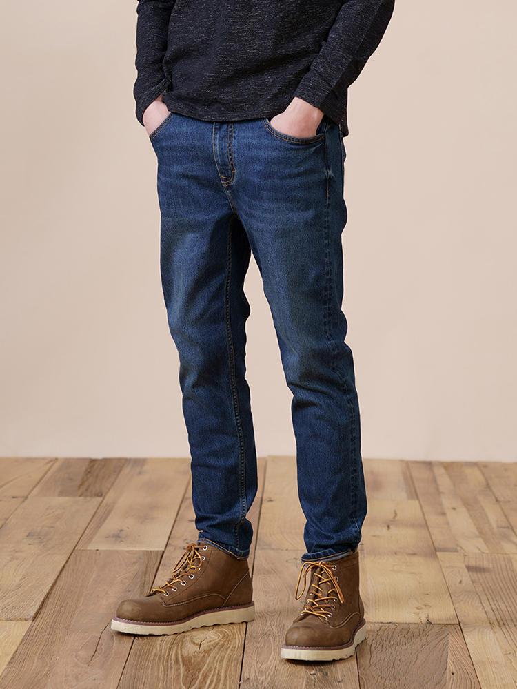 Jeans Men Lining Tapered Denim Trousers Slim-Fit Fleece Winter Plus-Size SIMWOOD Brand
