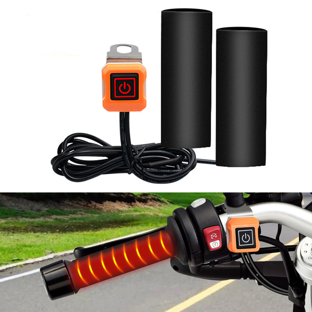 Motorcycle USB Heated Grips Handlebar Warmer Sleeves Connect To USB Power Adapter Socket Motorcycle Heated Hand Grips Electric Hot Heated Motorbike Handlebar Grips