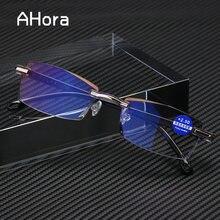 Ahora anti luz azul bloqueio sem aro óculos de leitura feminino masculino quadrado sem moldura presbiopia diopters + 1.0 1.5 2 2.5 4.0