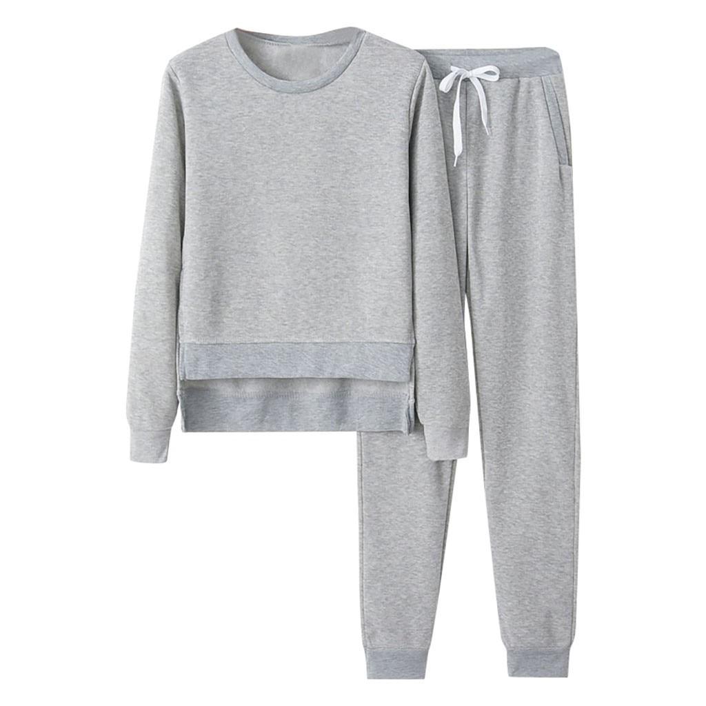 Women Elegant Tracksuit 2 Piece Set Top And Pants Suit Casual Sport Sweatshirt Trousers Set Casual Sport Suits Tops + Pants