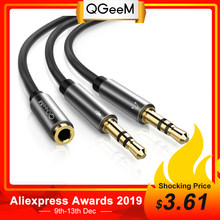 QGeeM Splitter Headphone for Computer 3.5mm Female to 2 Male 3.5mm Mic Audio Y Splitter Cable Headset to PC Adapter AUX Cable(China)