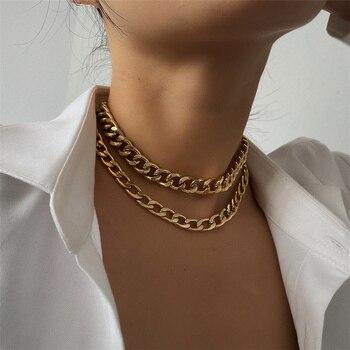 2 Teile/los Punk Kubanischen Kette Choker Halskette Hip hop Stil Double Layer Chunky Kragen Halskette für Frauen Schmuck Zubehör Geschenk