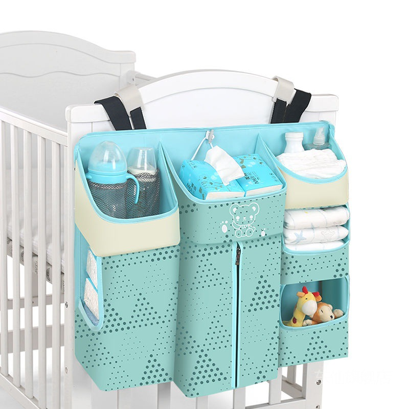 Big Capacity Baby Bed Hanging Bag Crib Torganizer Diaper Storage Strong Support Cradle Pockets Cot Bed Breathable Net Yarn Pouch