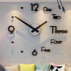 DIY Kids 3D Big Kitchen Wall Clock Nordic Modern Design Large Sticker Bedroom Self Adhesive Watch Home Decor Living Room Nixie(China)