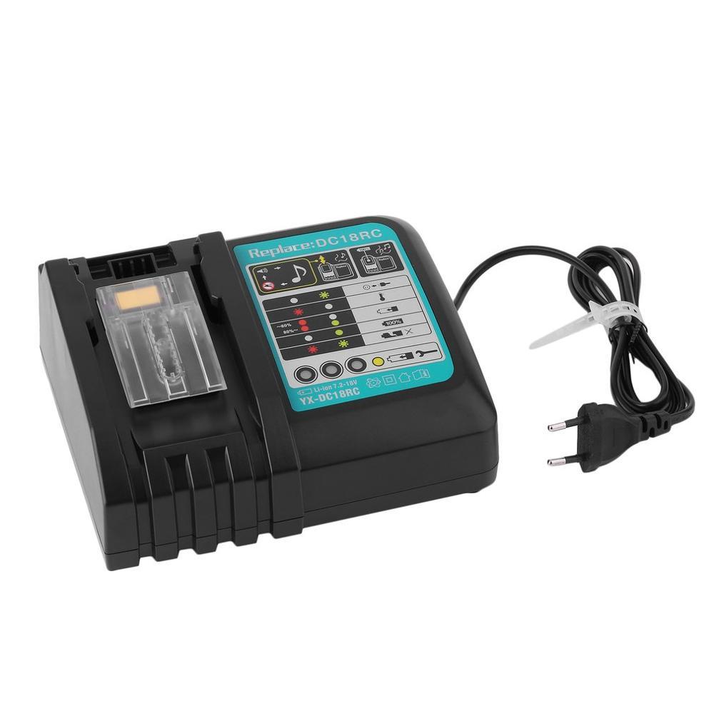 HOT Practical Power Tool Li-Ion Battery Charger Replacement For Makita 14.4-18V Li-Ion Battery DC18rc EU Plug Black
