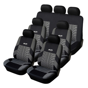 Image 1 - 7PCS Track Detail Style Car Seat Covers Set Polyester Fabric Universal Fits Most Cars Covers Car Seat Protector