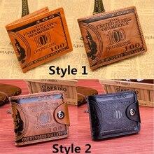 Мужские кошельки с узором в виде доллара США 100, мужской кожаный бумажник, фото держатель для карт, модный вместительный кошелек