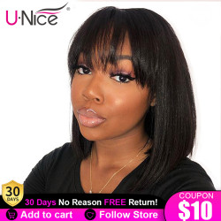 Unice Hair Bob Fringe Wig Lace Front Human Hair Wigs 8-14 Inch Short Bob Brazilian Remy Wig with Bangs Lace Wig For Black Women