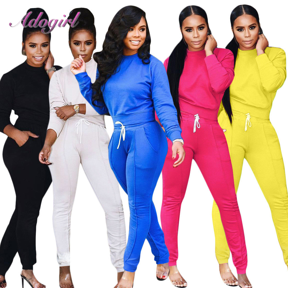 Women Tracksuit Two Piece Set Casual Solid Long Sleeve O Neck Crop Tops T-Shirt Loose Pants Suit Outfit Sportwear Jogging Sets
