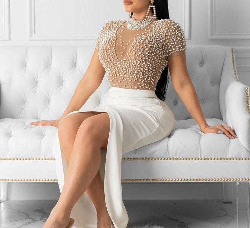 High Quality Sexy Nude Short Sleeve Beading Bodycon Rayon Bandage Fashion Evening Party Playsuit