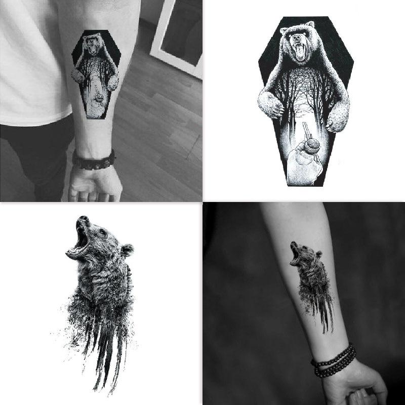 Bear Temporary Tattoo Sticker Waterproof Adult Men Women Boys Shoulder Arm Fake Tattoos 13.5X7.5cm