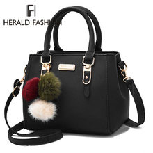 Fashion Women Handbags Hairball PU Leather Totes Bag Top-handle Embroidery Cross