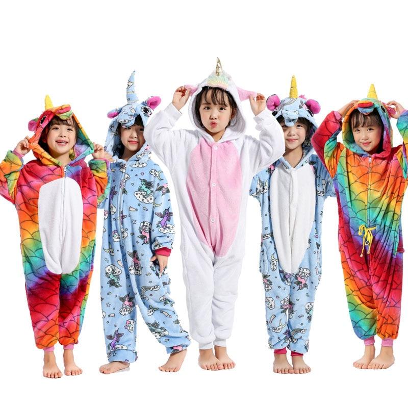 Unicorn Kigurumi Onesie Child Kids Flannel Soft Winter Sleepwear School Home Carnival Party Pajamas Pokemon Pajama Animal Outfit