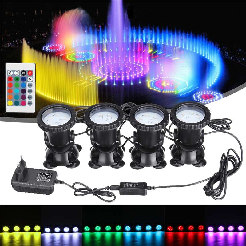 1 Set 4 Light Waterproof  24 RGB LED Underwater Spot Light 16 Color 4 Modes For Swimming Pool Fountains Pond Water Garden