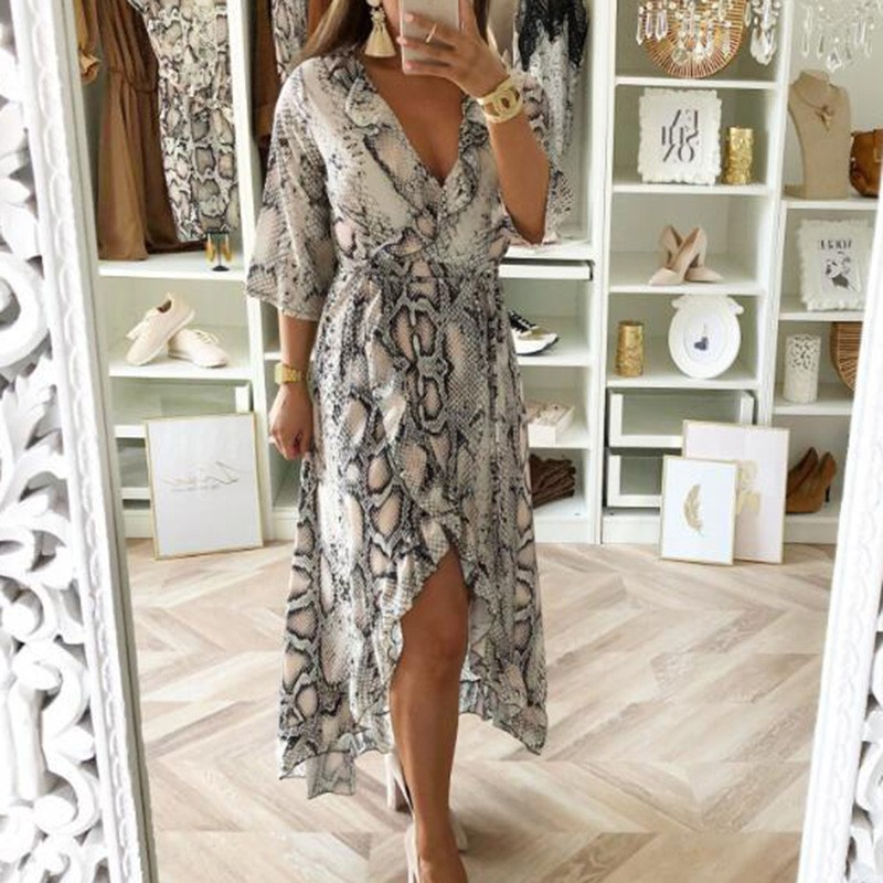 2019 Sexy Women Dress Fashion Snakeskin Print Half Sleeve V Neck Long Midi Female Ruffles Lace Up