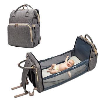 Πολυμορφικό Ταξιδιωτικό baby backpack,Αλλαξιέρα-Κρεβατάκι Μωρού με Χειρολαβές