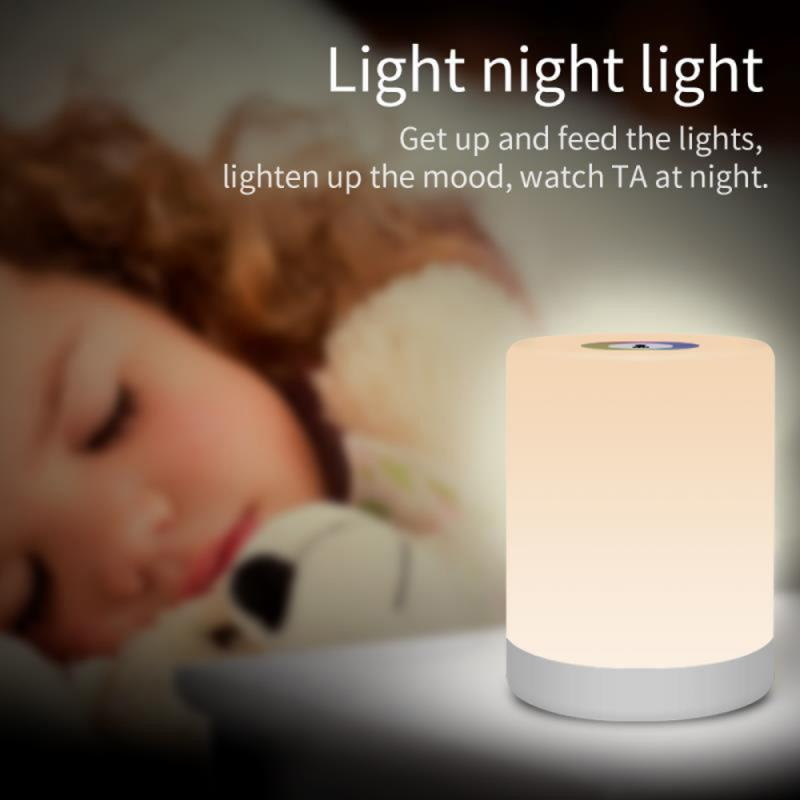 LED Bedside Table Lamps Touch Lamp Rechargeable Warm White Light RGB Color Night Light With Hook Bedrooms Living Room